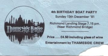 Thameside Radio 4th birthday ticket