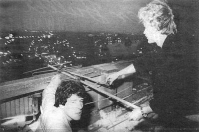 Thameside Radio 90.2 Paul and Bob on top of a tower block with a link aerial